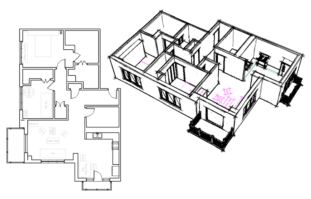 Basic condominium floorplan prepared for a personal client and shown in both plan view and an isometric sketched perspective.