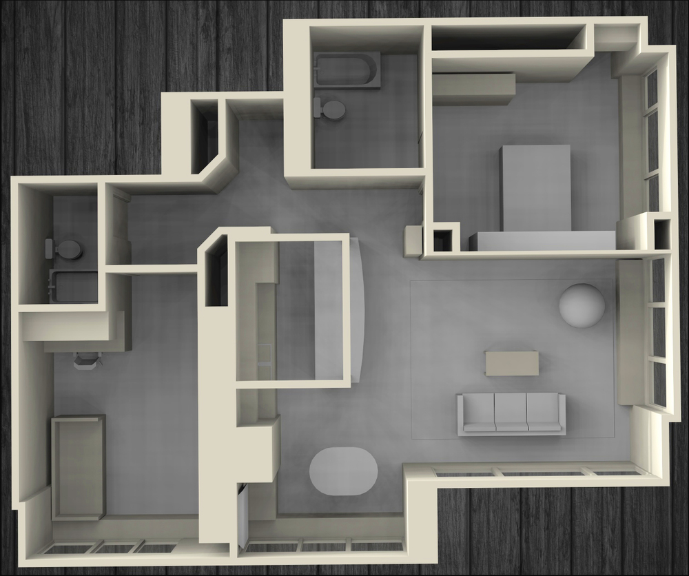 Field measured highrise condominium scale model rendering for a personal client, used for interior planning, built-in carpentry design and furniture layout.