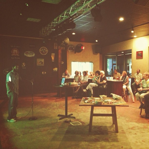 "Checking out a presentation at Sustainable Tallahassee's ""Green Drinks"" event"