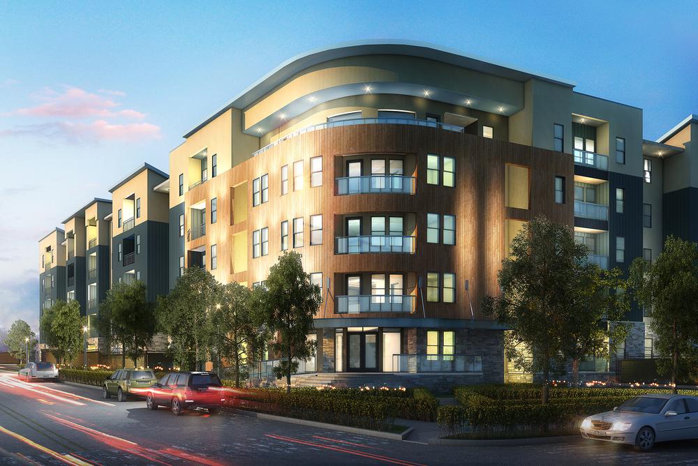 The Vue on MacGregor: 380 beds, 5 story stick frame around precast structured parking garage.