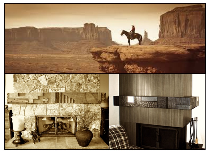 Mantels become another piece of art. These are inspired by the west, the landscape and culture.
