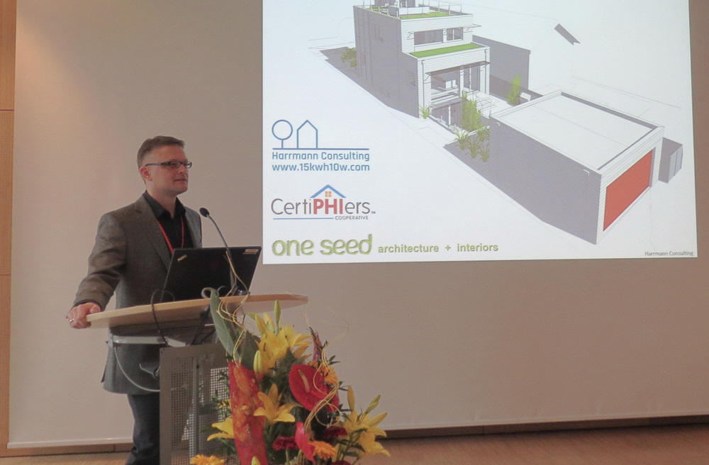 Andre presenting a Passive House in Vancouver, BC on which he is the CPHC