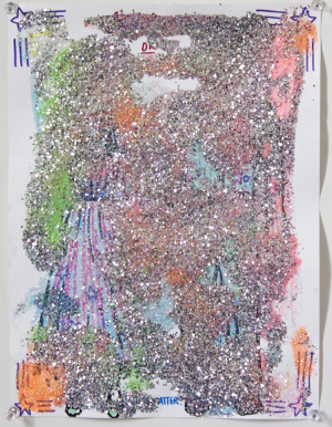 "DOES IT MATTER?, 9""x12"", marker and glitter on paper, 2015."