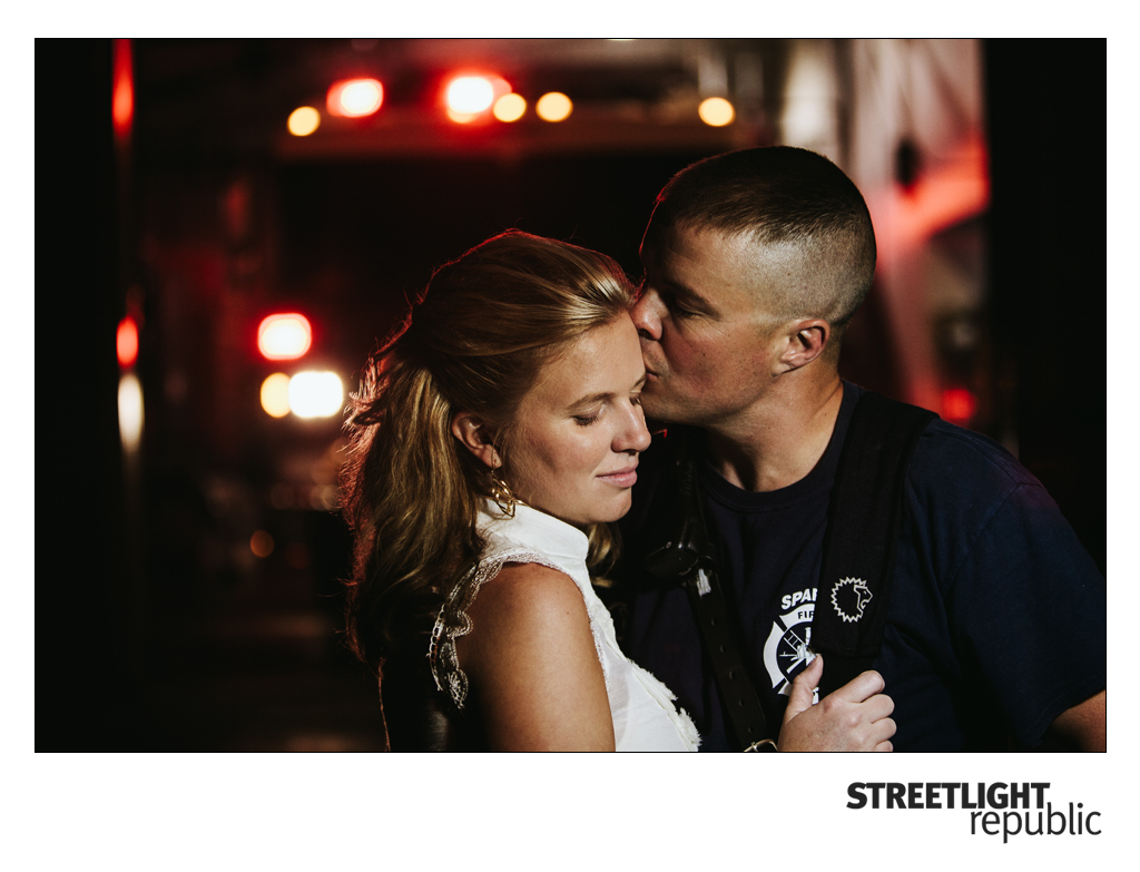Fireman Engagement Photos, streetlight republic