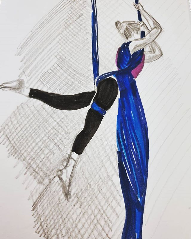 3. Back on silks after a long break and delighted to be back to a creative term full of playful shape-making! #100daysofdrawingaerial #the100dayproject #aerialsilks #drawing #sketchbook