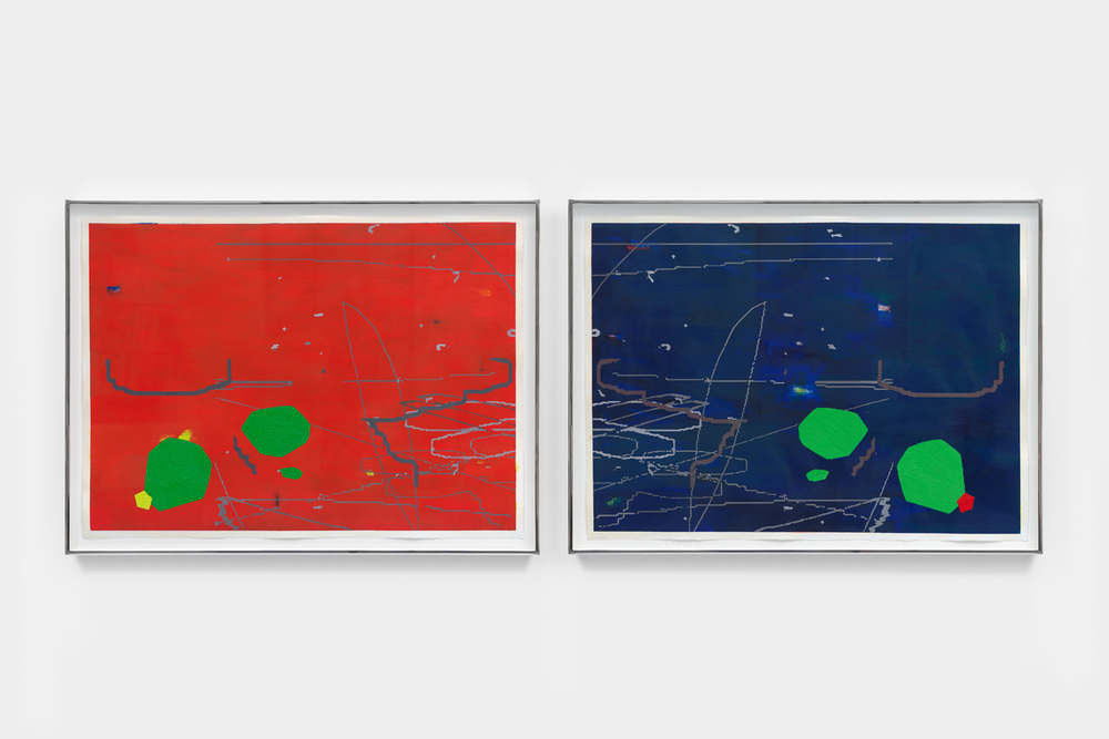"Variation: Pictograms I & II,  2014 Oil on prepared paper Each 23"" x 30"""