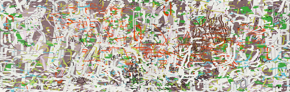 "Variation/Mutation (scribble),  2012 Oil and encaustic on two panels 42"" x 132"" x 2"""