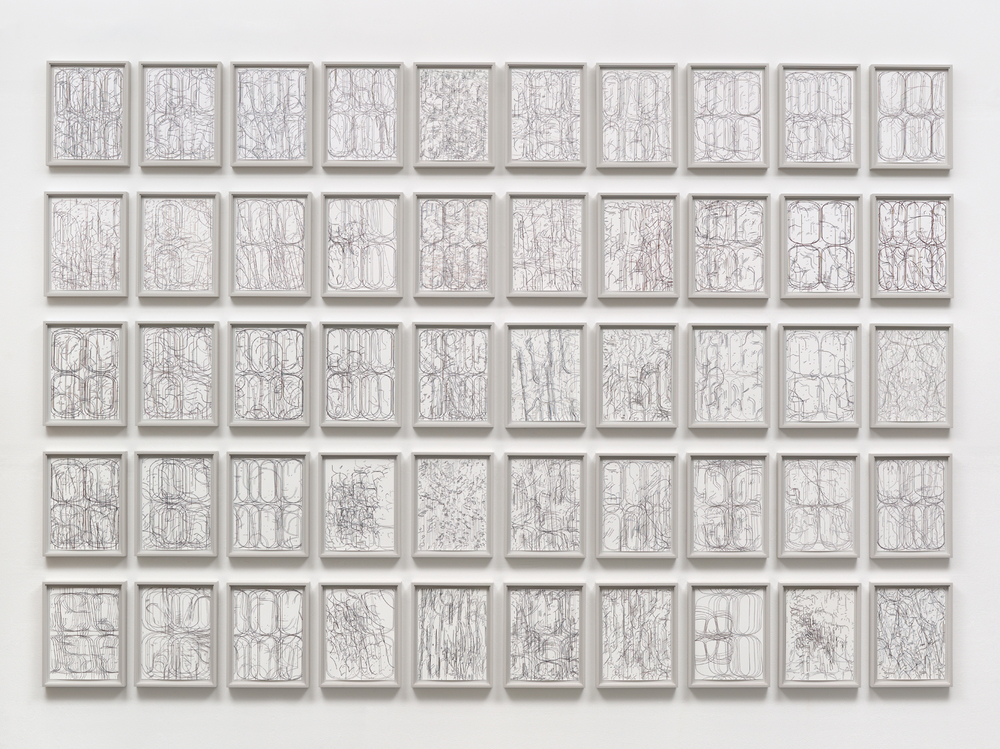 "[installation]  50 Variations,  2011 Gouache on Rising Stonehenge paper Each 12"" x 9"" (13 ¾"" x 10 ¾"" framed) Overall dimensions variable"