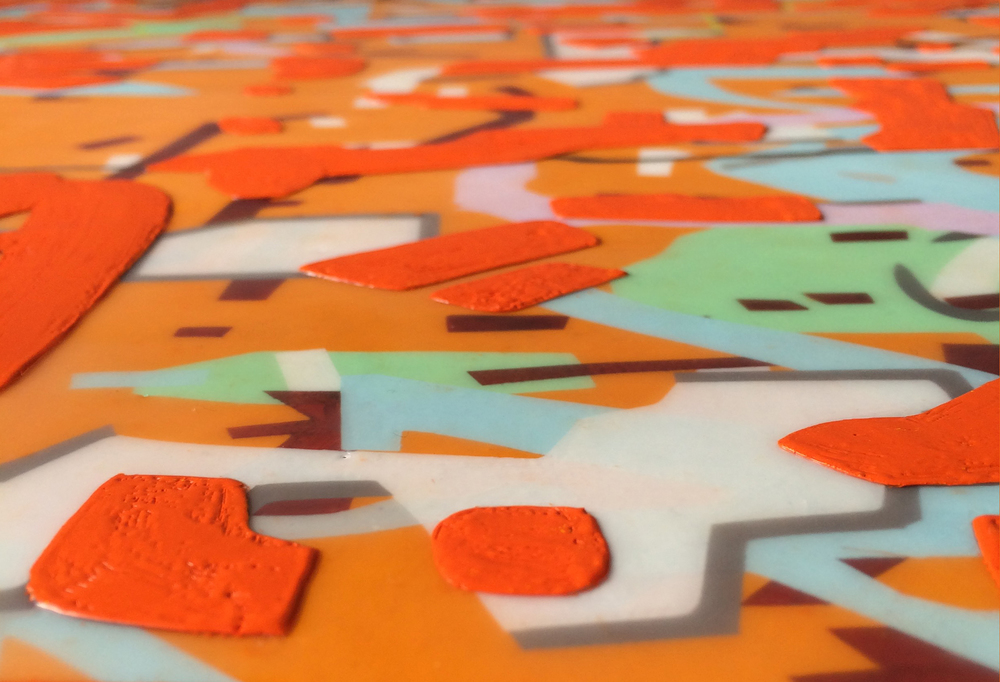 This is a detail shot of one of my new paintings, Variation (orange).  Nearly finished!