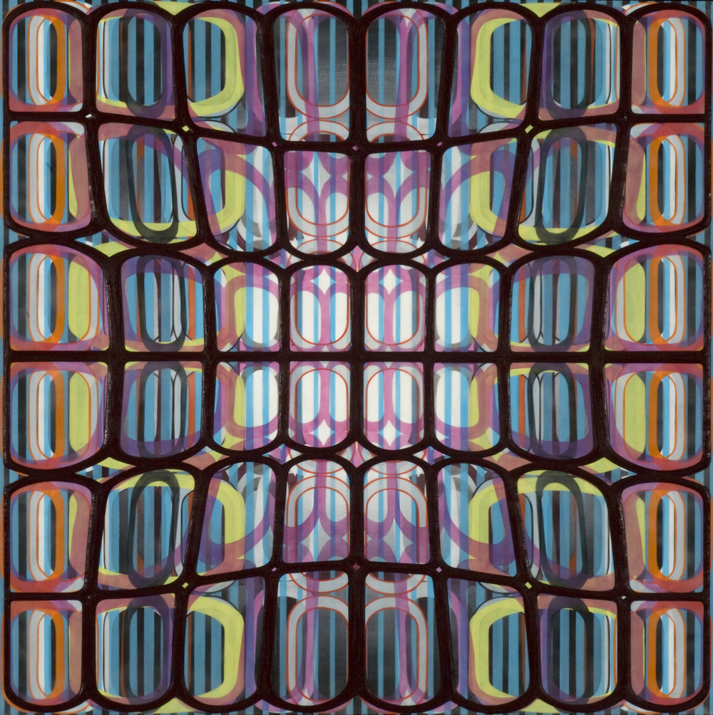 "Identical/Variation (pink, blue, green, black) #1,  2007 Oil and encaustic on panel 36"" x 36"" x 2"""