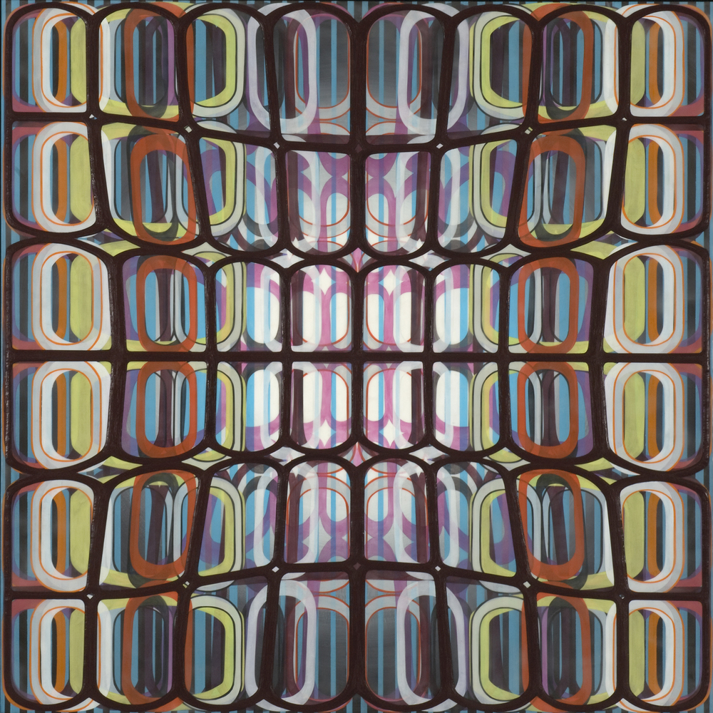 "Identical/Variation (pink, blue, green, black) #2,  2007 Oil and encaustic on panel 36"" x 36"" x 2"""