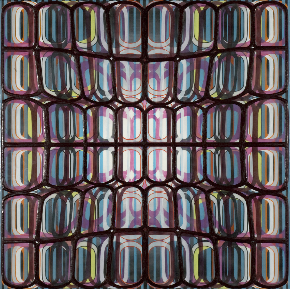"Identical/Variation (pink, blue, green, black) #3,  2007 Oil and encaustic on panel 36"" x 36"" x 2"""