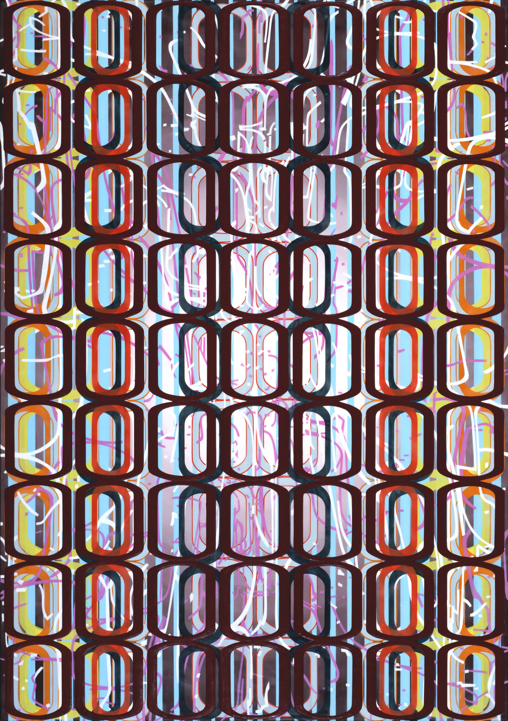 "Identical/Variation (erratic pink and white) #1,  2008 Oil and encaustic on panel 66"" x 46"" x 2"""