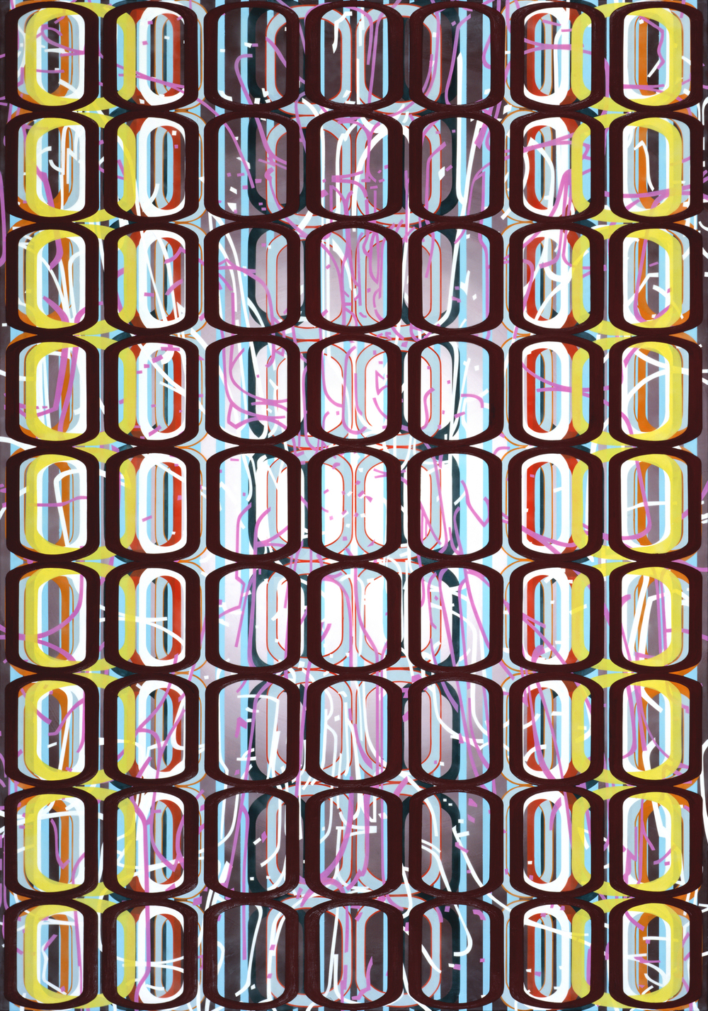 "Identical/Variation (erratic pink and white) #2,  2008 Oil and encaustic on panel 66"" x 46"" x 2"""