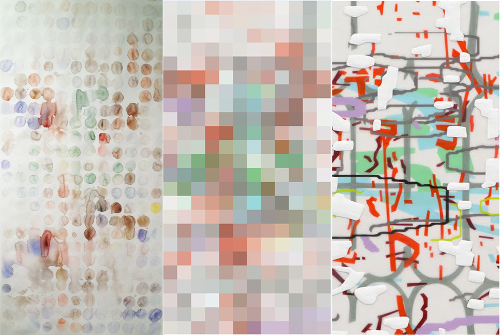 (Left)  Rainbrush  painting; (center) pixel mapping of my painting; (right) detail of my painting,  Variation (white),  2014