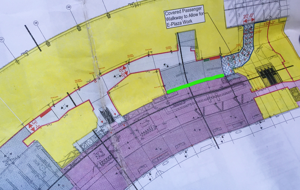 Construction plan for the current phase of Terminal 3.  The bright green line indicates my mural site.