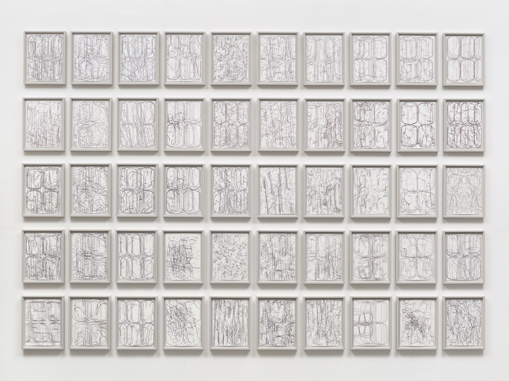 50 Variations,  installation of fifty framed works, gouache on paper, overall dimensions variable