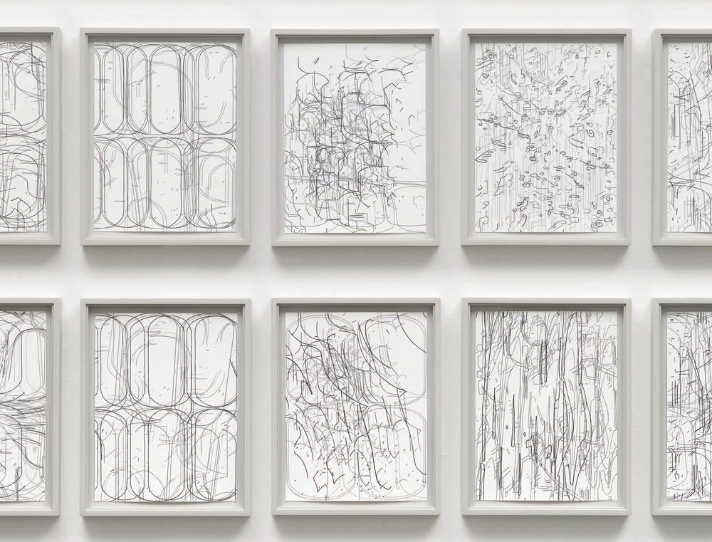 [detail]  50 Variations, installation of fifty framed works, gouache on paper, overall dimensions variable