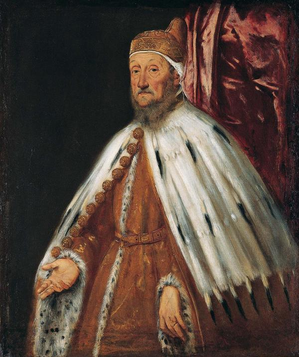 Tintoretto,  Portrait of Doge Pietro Loredan,  1518-1594  The ermine cape is so incredibly rendered.  The brushstrokes are so loose that it is impossible to discern the image when you are close to the painting.