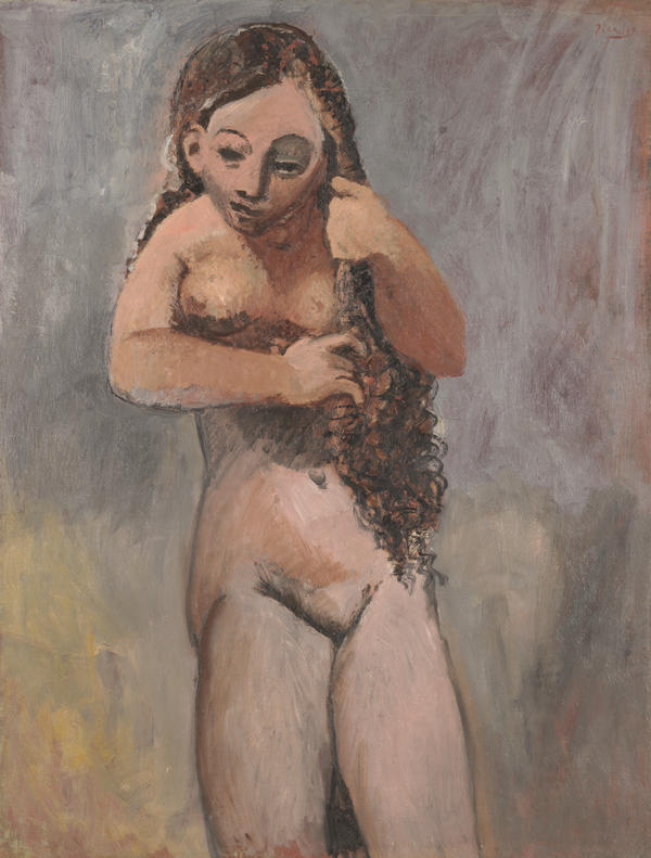 Picasso,  Nude Combing Her Hair,  1906.  This painting really stayed with me.  The concrete awkwardness of the figure, mass of hair, mask-like face, soft brushy background and the placement of the figure within the picture plane gave me a sense of physical tension and compression.
