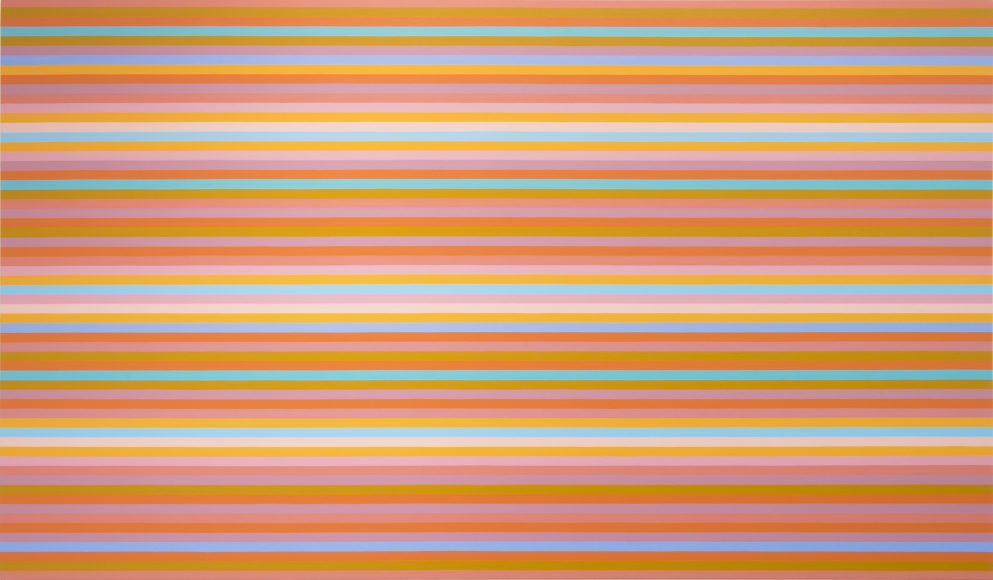 BRIDGET RILEY, Chord, 2014, oil on linen, 61 1/4 x 104 3/4 inches I was very delighted to see this recent work.  It was one of the most vibrant and compelling pieces in the exhibition.