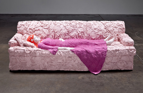 LIZ CRAFT, Nicole Couch (Pink, Fuchsia, Orange),  2010, fiberglass and paint, 32 x 98 x 40.5 inches