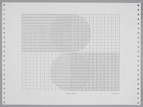 Frederick Hammersley,  Screen Door,  1969, computer-generated drawing on paper