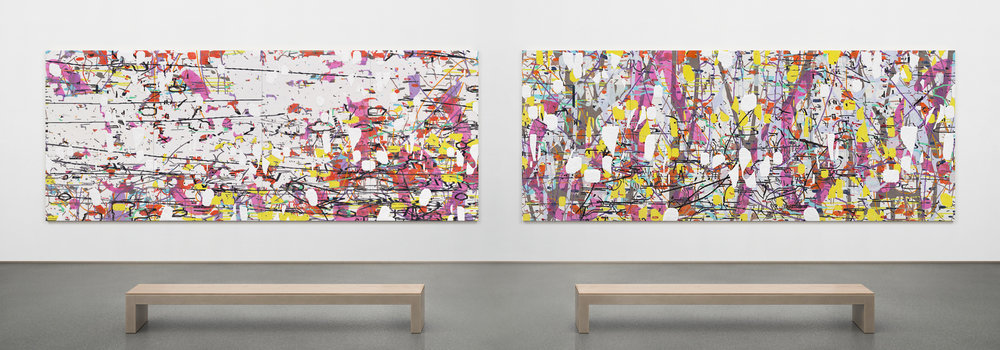 "Variation (a configuration of forces on the sagittal and transverse planes) Parts I & II,  2018 Each oil and encaustic on four panels Each 66"" x 168"" x 2"""