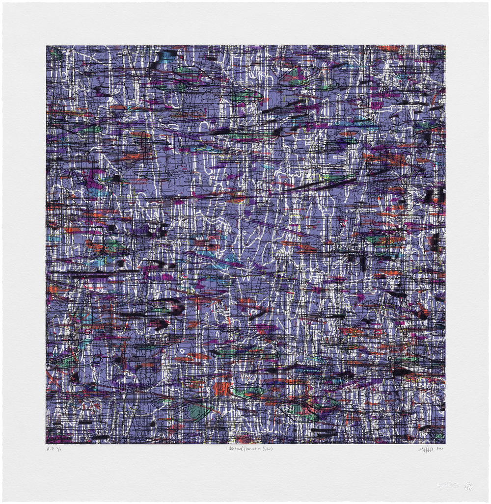 "Identical/Variation (blue) , 2018 Print (etching, acrylic ink, woodcut); edition of 12 Image: 28"" x 28"" Paper: 35"" x 34"""