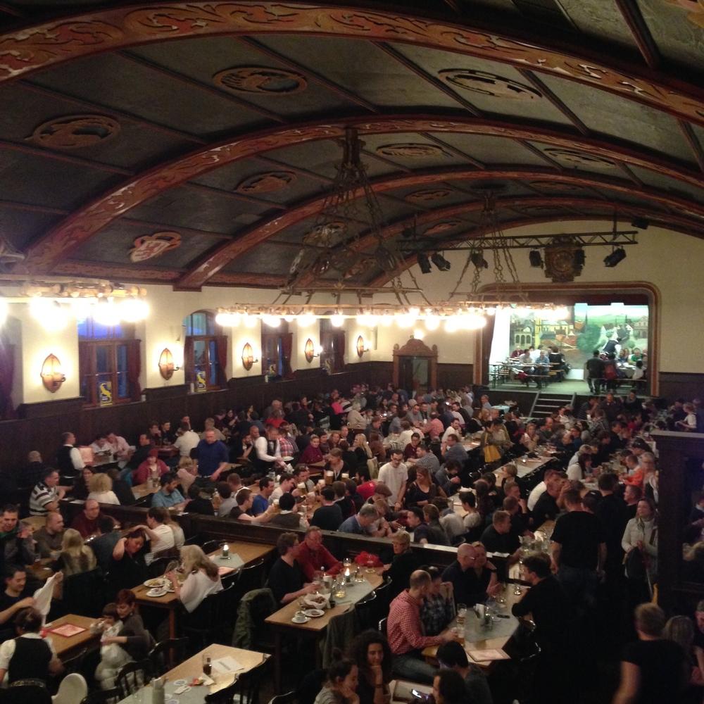 Insile hall of Augustiner Keller Beer Garden
