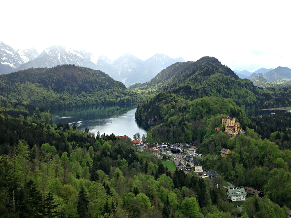 Lake Alpsee and Schloss Hohenschwangau as seen from Neuschwanstein