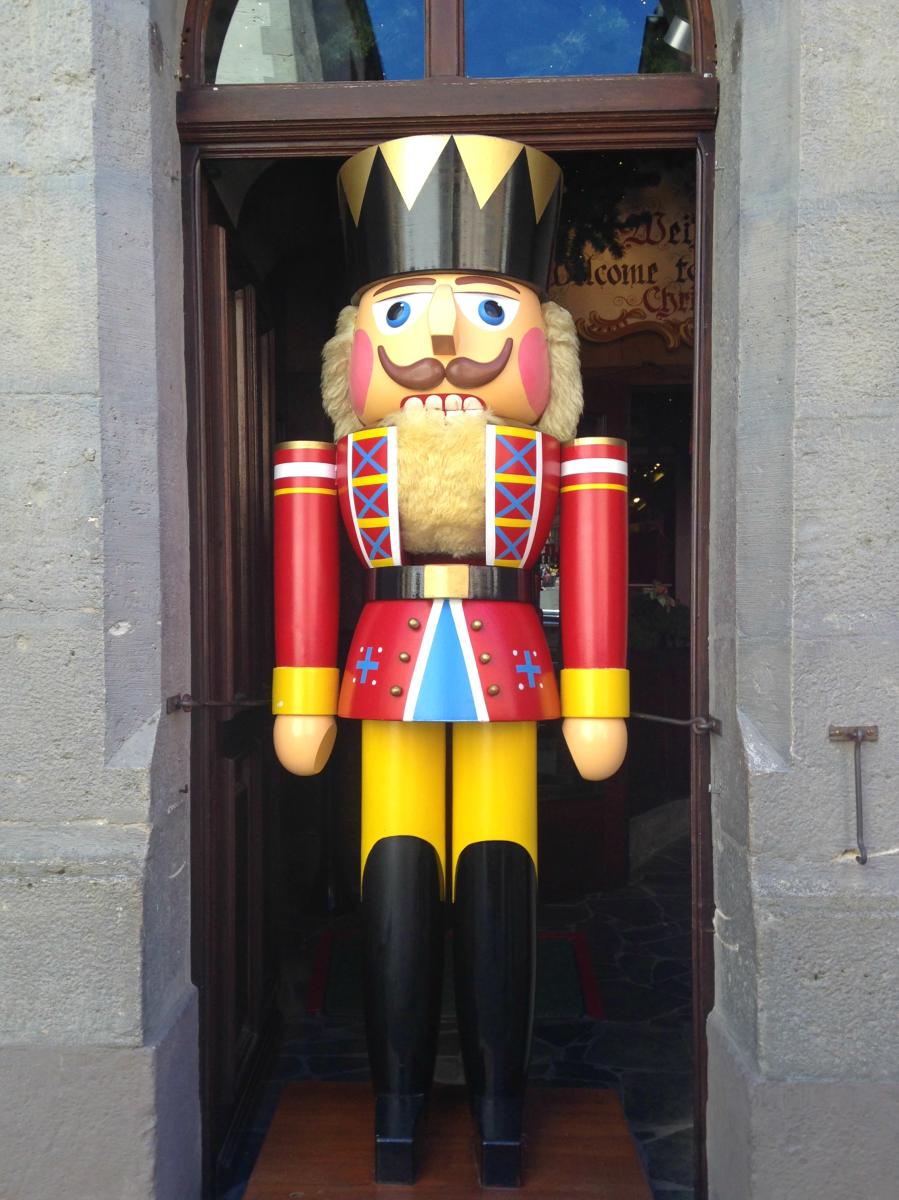 Nutcracker guarding the Christmas Village