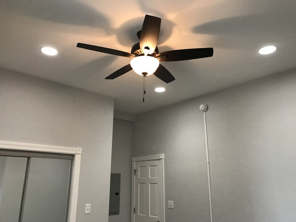 Bedroom recessed lights and ceiling fan