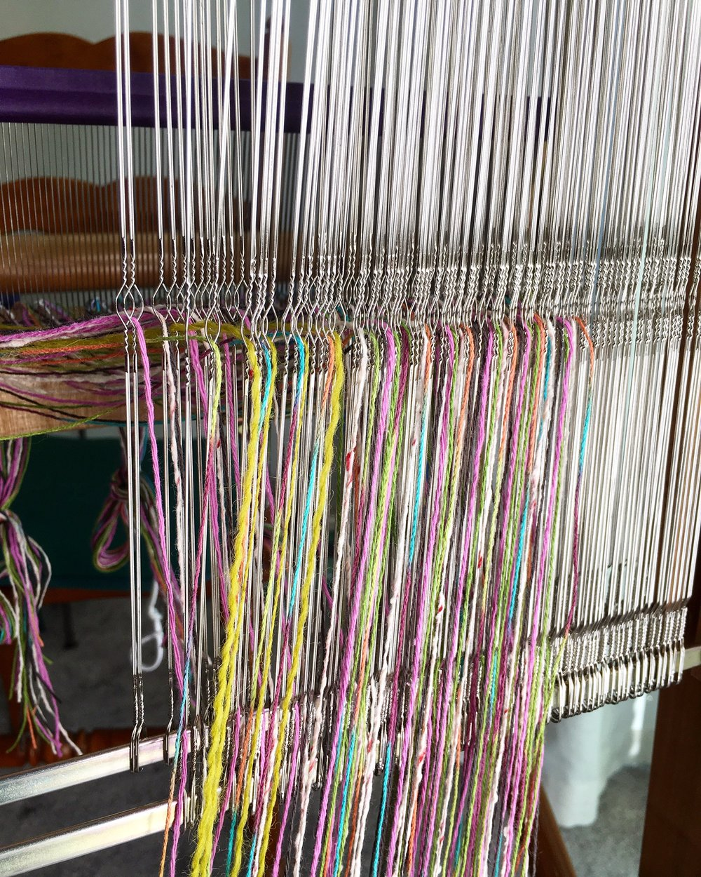 Warping the Loom - Sole concentration… no room for distraction. A meditative and satisfying process.