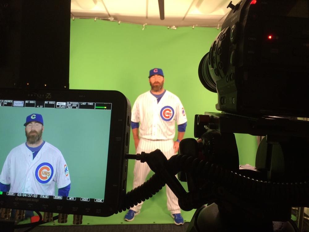 Jason Motte answering our tough questions in front of the green screen