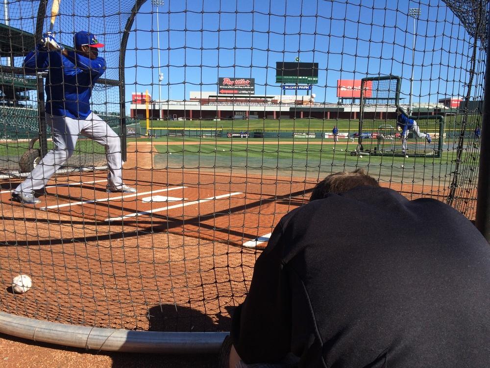 Jorge Soler taking swings during batting practice