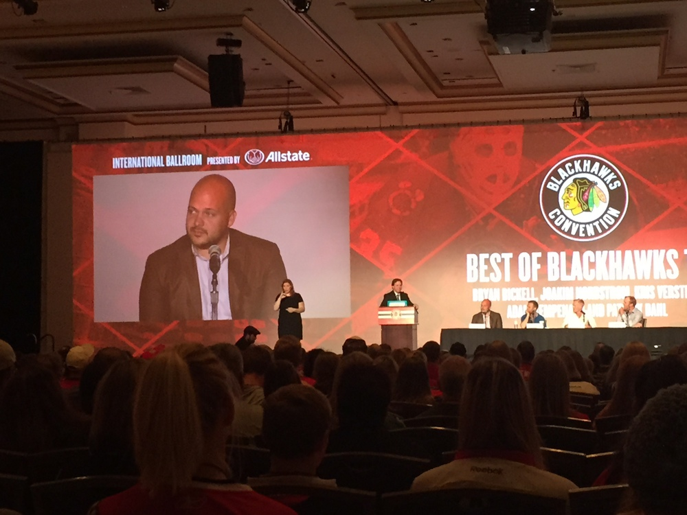 """Another reason we enjoy the Blackhawks Convention so much? Watching our VP of Creative Content spill industry secrets during the """"Blackhawks TV Behind-the-Scenes"""" Q&A session!"""