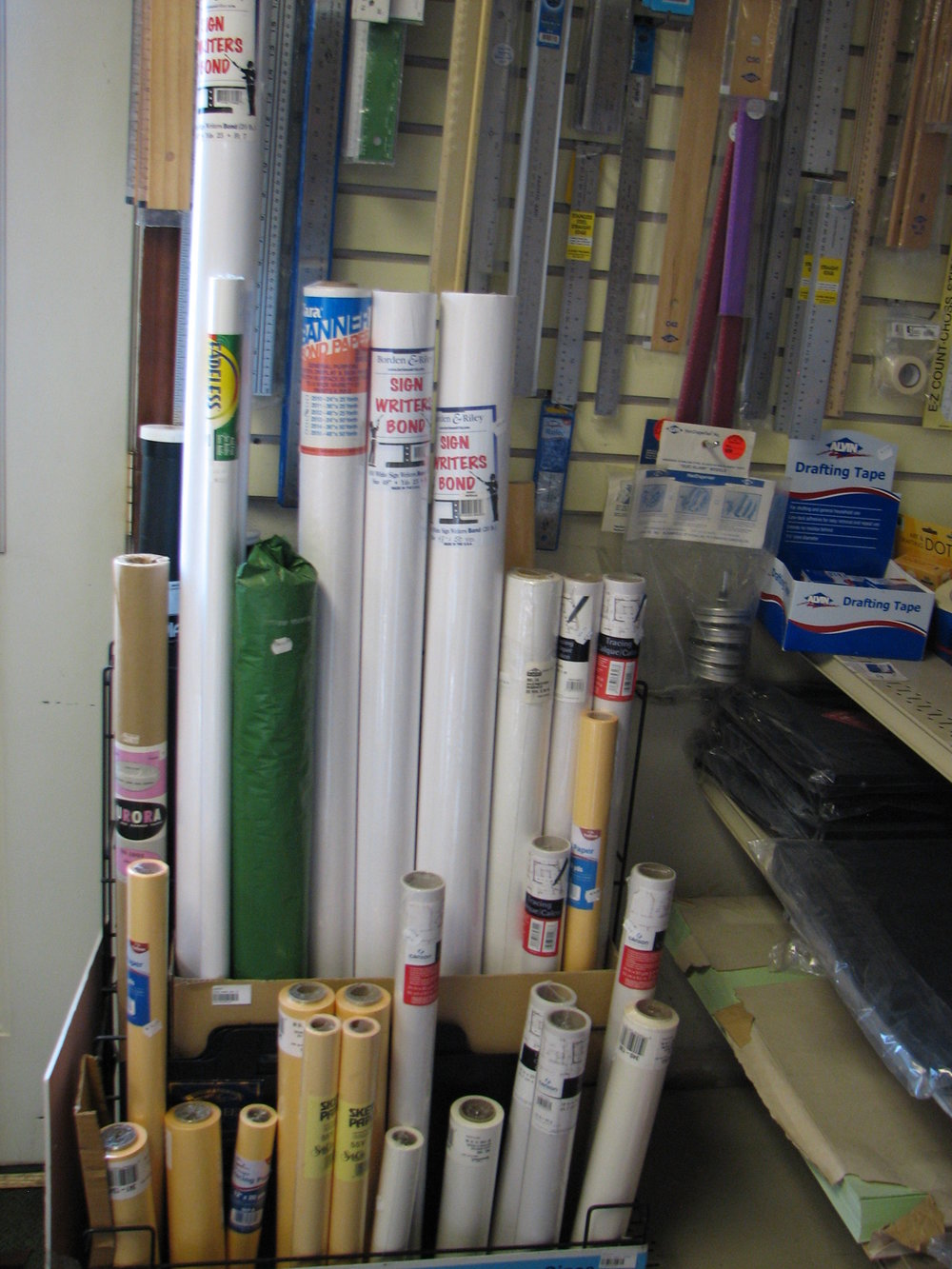 "Rolls of Banner paper, Rolls of Tracing paper from 12"" to 48"""