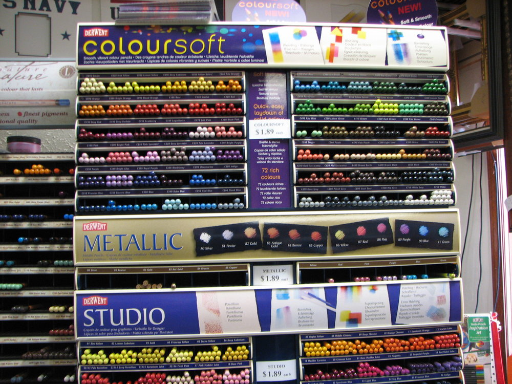 Color pencil sets and individual colored pencils, Colorsoft, Derwent Studio, Prismacolor, Milan colored pencil and Reeves colored pencil sets
