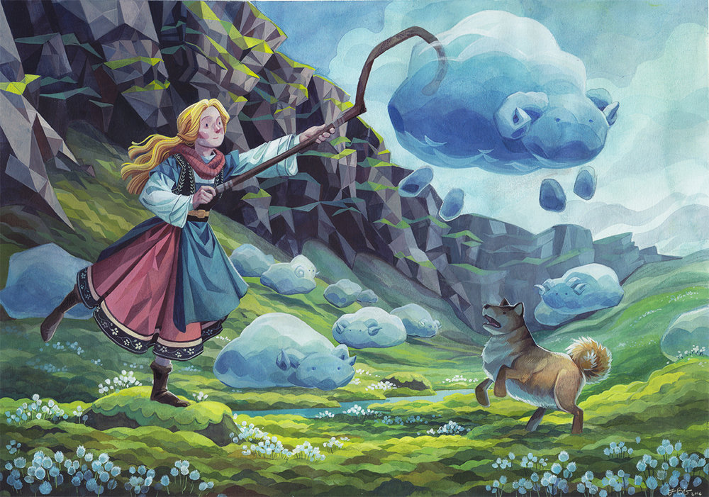 A cloud shepherd tending to her flock. With a bit of help, of course! Personal piece 2016. Gouache on Arches 300 lb watercolor paper.