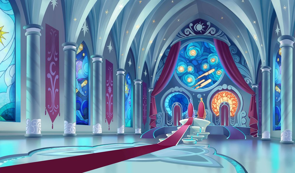 Canterlot Throne Room  Design by Laura Bifano and Alexia Tryfon.  BG Paint by Laura BIfano Art Direction by Rebecca Dart