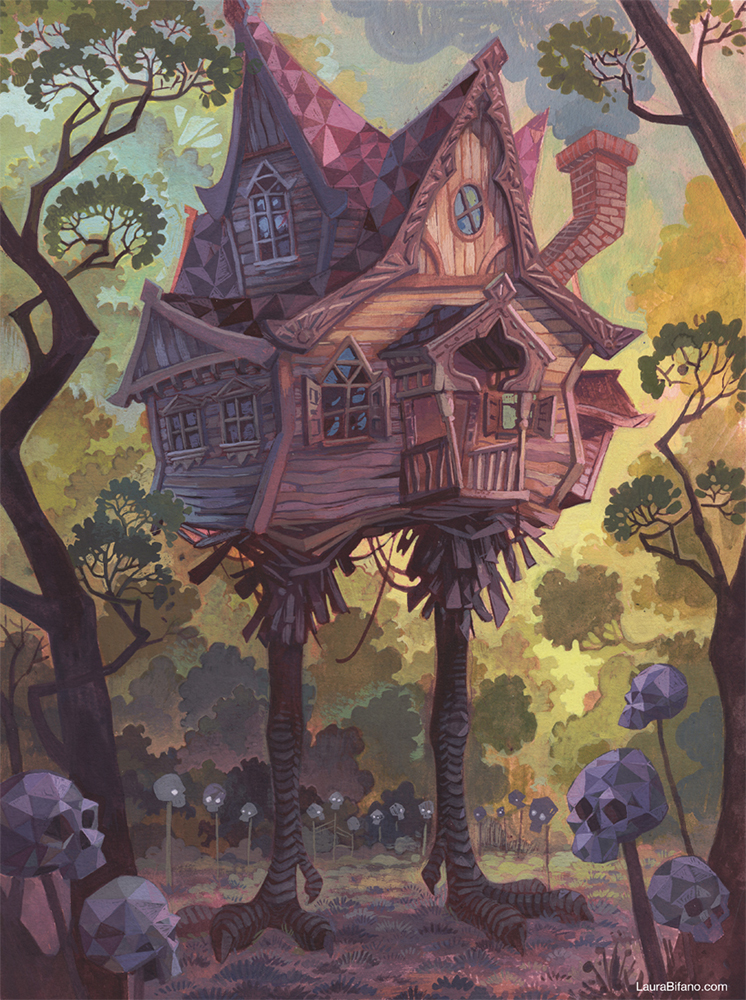 """The Baba Yaga's Hut"" Gouache on Arches 300lb Hot Press 12x16 inches"