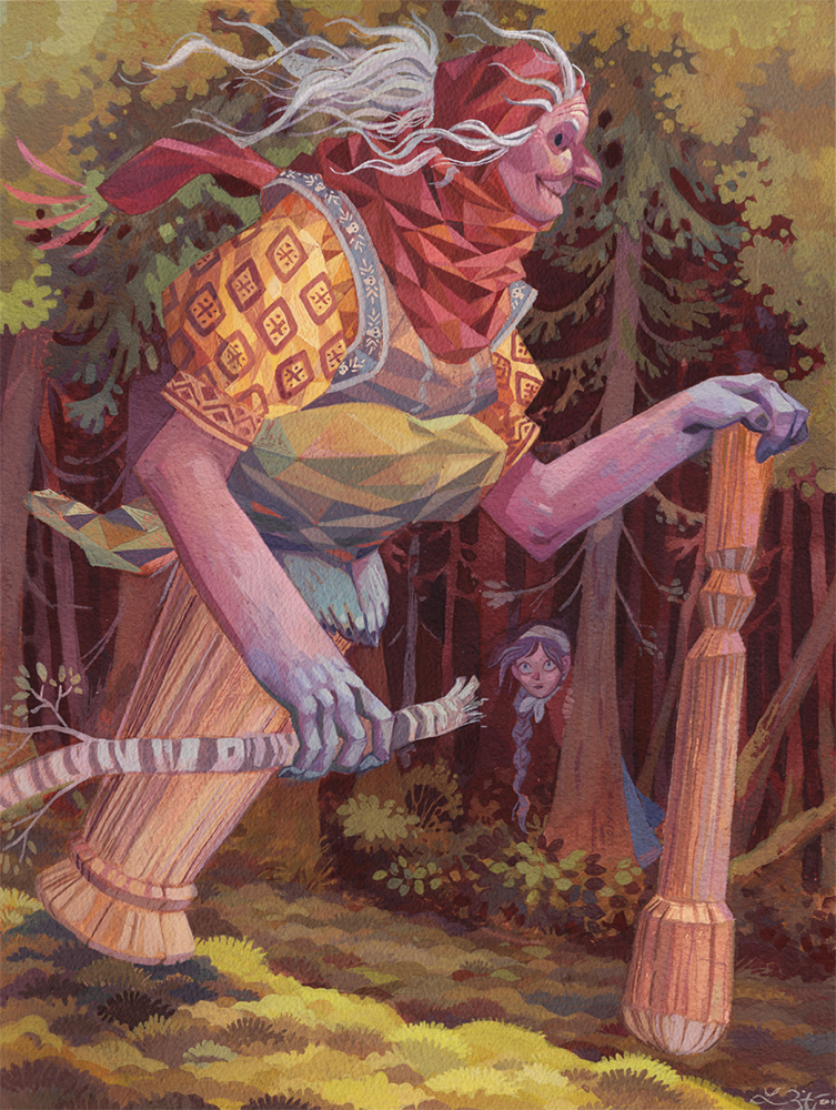 """Baba Yaga"" Gouache on Arches 300lb Hot Press 12x16 inches"