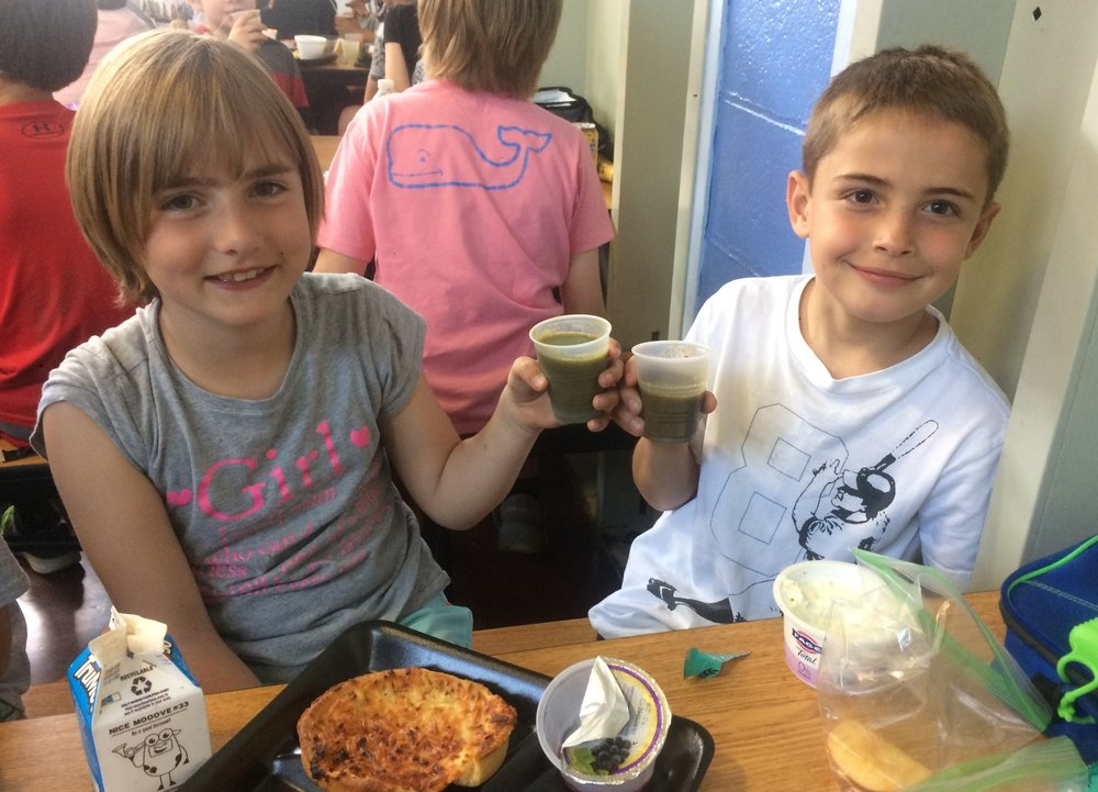 "Green Monster Smoothies with spinach grown by 6th graders at O'Maley!      Students give ""one thousand thumbs up"" to these bright green smoothies they call ""my favorite drink in the school!""   Click on the picture for a recipe and make some at home!"