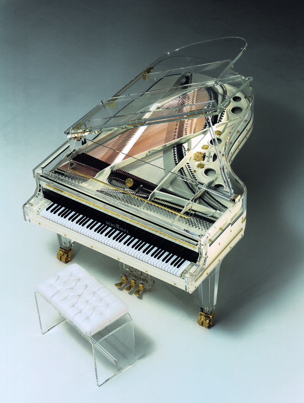 Schimmel Pianos Acrylic Grand White Top Glas Bespoke