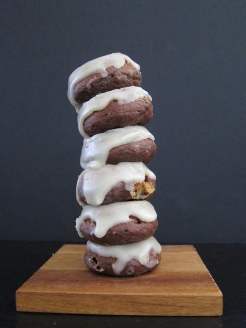 Chocolate Cardamom Halva Donuts with Tahini Glaze
