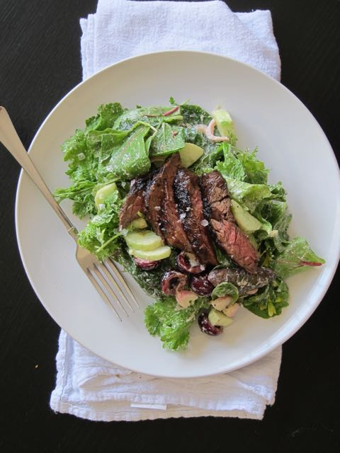 Skirt Steak and Cherry Salad