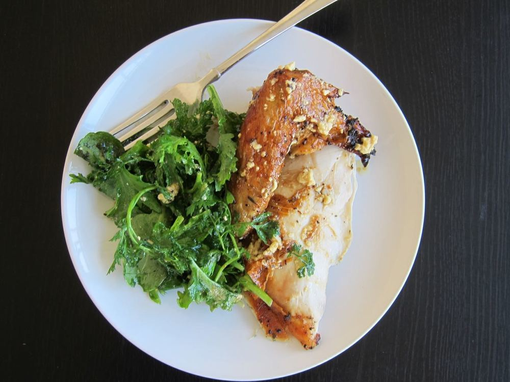 Feta Brined Roast Chicken and Greens
