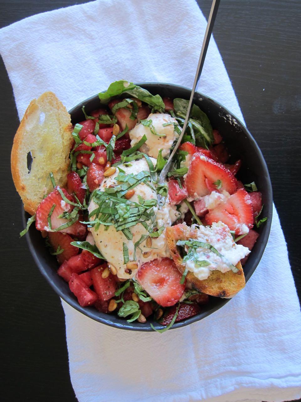 Strawberry, Watermelon, Burrata Salad