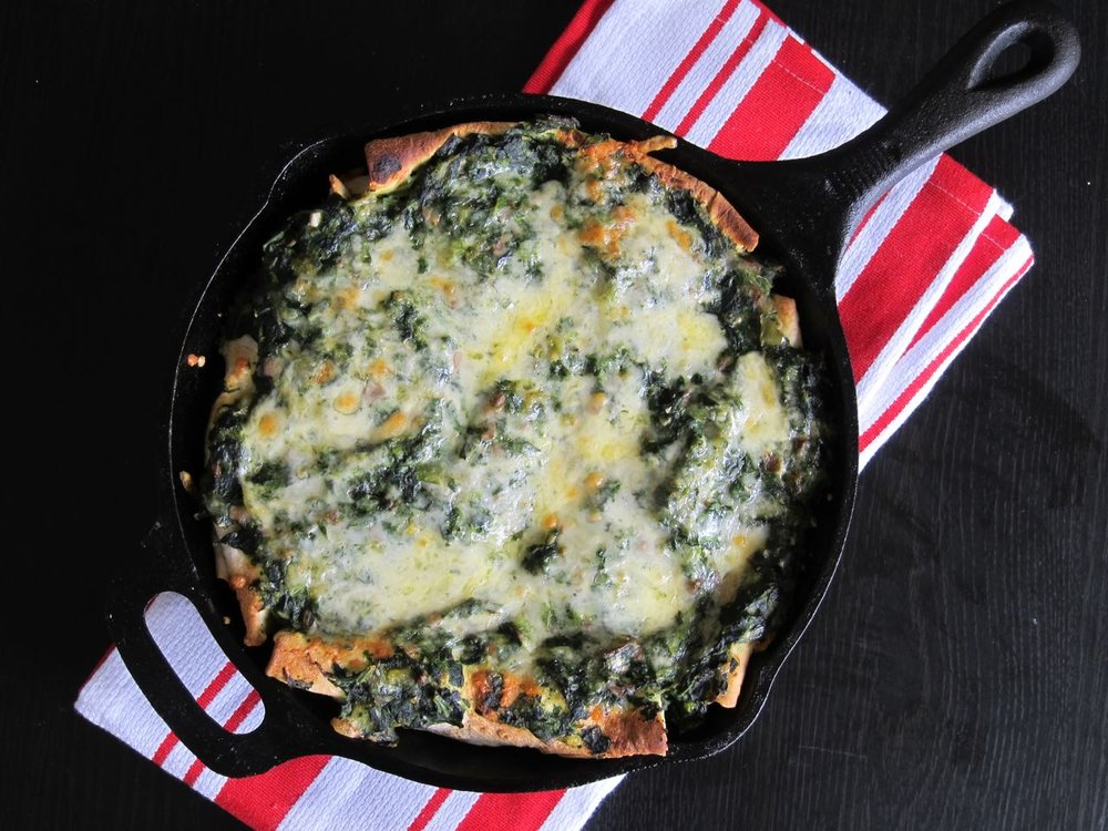 Green Chile Spinach, Cheese & Mushroom Enchiladas